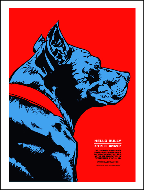 Hello Bully Pit Bull Benefit Print by Doyle