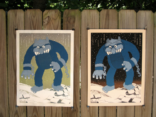 New 80's Ukiyo-e print by Jacob Borshard- Monster Attack!