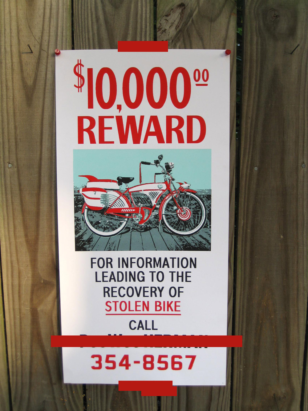 Jacob Borshard's '$10,000 Bike Reward' poster and Bike-O-Rama shirt!