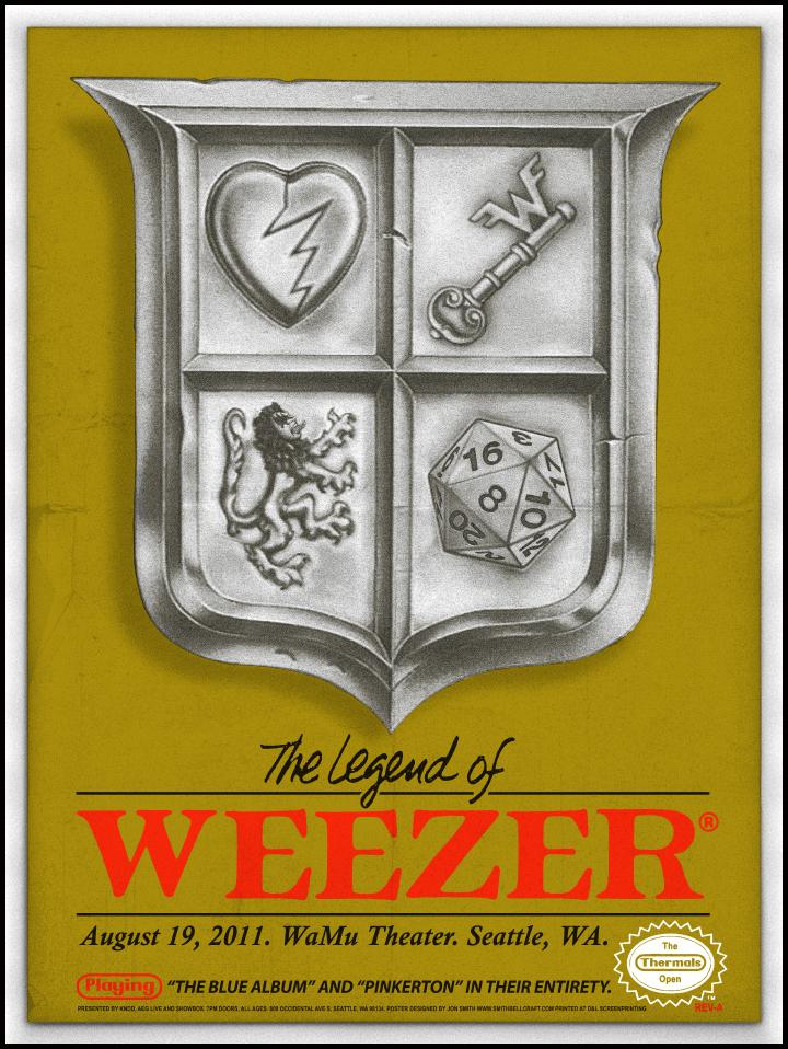 Jon Smith's ZELDA inspired WEEZER gig poster!