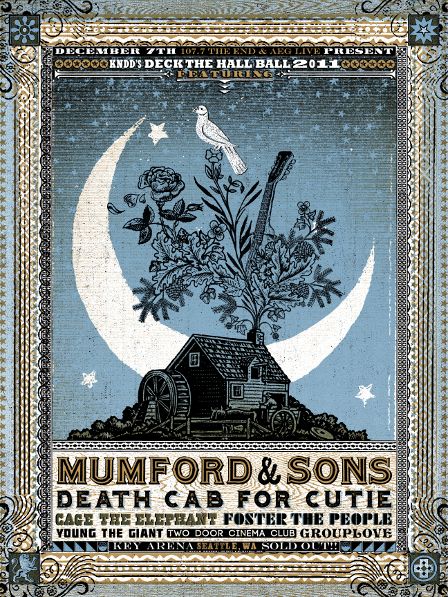 New Gigposters from Jon Smith- Death Cab, Mumford and Sons, Florence + the Machine