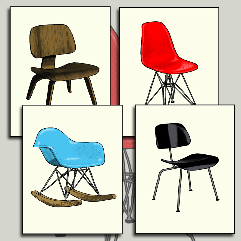 Eames chair print set by Zane Thomas!
